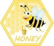 Honey Logo. Cartoon bee flying with honey pot logo Royalty Free Illustration