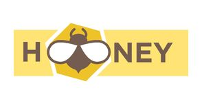 Honey Logo Design In Flat Style With Bee Icon Stock Photos