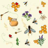 Honey love seamless vector background Royalty Free Stock Images