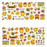 Honey market, bazaar, honey fair Doodle images of bees, flowers, jars, honeycomb, beehive, spot, the keg with lettering. Sweet honey, natural honey stock illustration