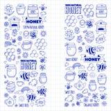 Honey market, bazaar, honey fair Doodle images of bees, flowers, jars, honeycomb, beehive, spot, the keg with lettering. Sweet honey, natural honey royalty free illustration