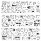 Honey market, bazaar, honey fair Doodle images of bees, flowers, jars, honeycomb, beehive, spot, the keg with lettering. Sweet honey, natural honey vector illustration