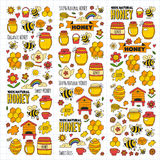 Honey market, bazaar, honey fair Doodle images of bees, flowers, jars, honeycomb, beehive, spot, the keg with lettering Royalty Free Stock Image