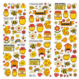 Honey market, bazaar, honey fair Doodle images of bees, flowers, jars, honeycomb, beehive, spot, the keg with lettering royalty free illustration