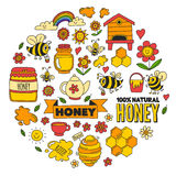 Honey market, bazaar, honey fair Doodle images of bees, flowers, jars, honeycomb, beehive, spot, the keg with lettering stock illustration