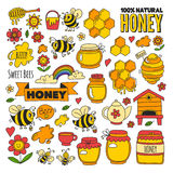 Honey market, bazaar, honey fair Doodle images of bees. Flowers, jars, honeycomb, beehive, spot, the keg with lettering sweet honey, natural honey vector illustration