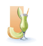 Honey melon goblet of juice, cocktail, smoothie Royalty Free Stock Photo