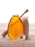 Honey and milk Royalty Free Stock Image
