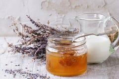 Honey, milk and lavender Royalty Free Stock Photos