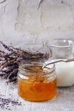 Honey, milk and lavender Royalty Free Stock Photo