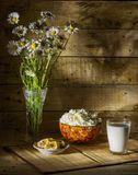 Honey and milk products. Still life with milk, curd, honey comb and a bouquet of daisies, summer breakfast Stock Photography