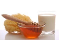Honey and milk spa royalty free stock image