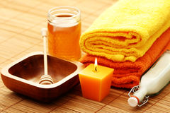 Honey and milk spa Royalty Free Stock Photo