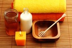 Honey and milk spa Stock Photos