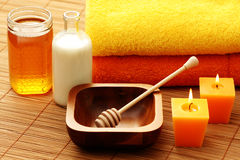 Honey and milk spa Stock Photography