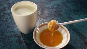 Honey and milk. Tasty smack beautiful stock video footage