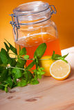 Honey, mint and lemon. Honey , mint and lemon as a natural medicine royalty free stock image