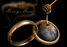 Honey Moon 2. Honey falling on the Moon, with two wedding rings in the foreground and text at the background royalty free illustration
