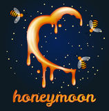 Honey moon concept. Heartshaped halfmoon made of honey Royalty Free Stock Photo