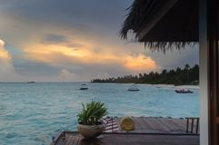 Overwater bungalow in Maldives Islands; stock image