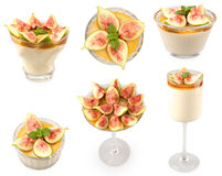 Honey mousse with figs composite Royalty Free Stock Photo