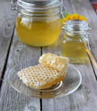 Honey. Natural bee honey in glass jar royalty free stock images