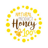 Honey natural product, 100 percent logo. Colorful hand drawn vector illustration. For honey and apiary products Stock Image