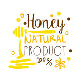 Honey natural product, 100 percent logo symbol. Colorful hand drawn vector illustration. For honey and apiary products Stock Images
