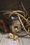 Honey nest with hemp rope Stock Image