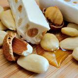 Honey nougat with almonds Royalty Free Stock Images