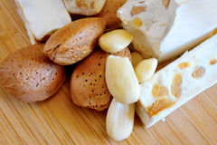 Honey nougat with almonds Stock Photo