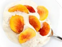 Honey and nut yogurt with nectarine Royalty Free Stock Images