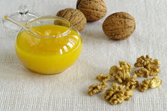 Honey and nuts Royalty Free Stock Images