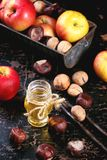 Honey, nuts and apples Stock Images