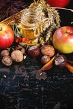 Honey, nuts and apples Royalty Free Stock Images