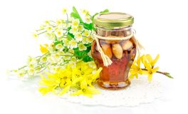 Honey with nuts and flowers Royalty Free Stock Image