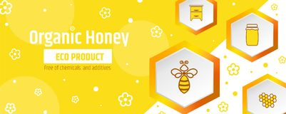 Honey is an organic ecological product. Banner or package design template. Beekeeping and apiary. Illustration vector illustration