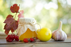 Honey and others natural medicine for winter flue. On wooden table Royalty Free Stock Image