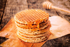 Honey and pancakes Royalty Free Stock Photos