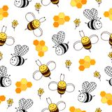 Honey pattern with honeycomb, bees and flowers. Natural background stock illustration