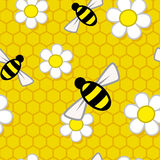 Honey Pattern Repeat. A repeat pattern of bees and flowers over a honeycomb background Stock Photo