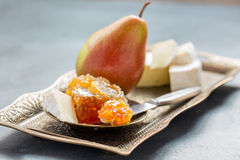 Honey, pear and brie cheese. Stock Photography