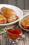 Honey and pepper red marinade in glass gravy boat Stock Photo