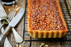 Honey pine nuts tart Royalty Free Stock Photo