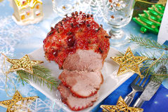 Honey and plum glazed ham for christmas Stock Photos