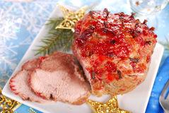 Honey and plum glazed ham for christmas Stock Images