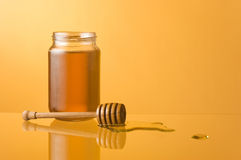 Honey pool, jar and dipper Stock Photography