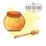Honey pot with dipper. Vector watercolor illustration Royalty Free Stock Image