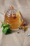 Honey pot and herbal tea Stock Image
