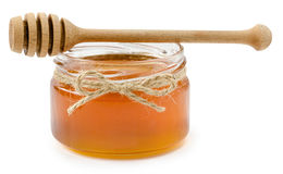 Honey pot on isolated white background Royalty Free Stock Photography